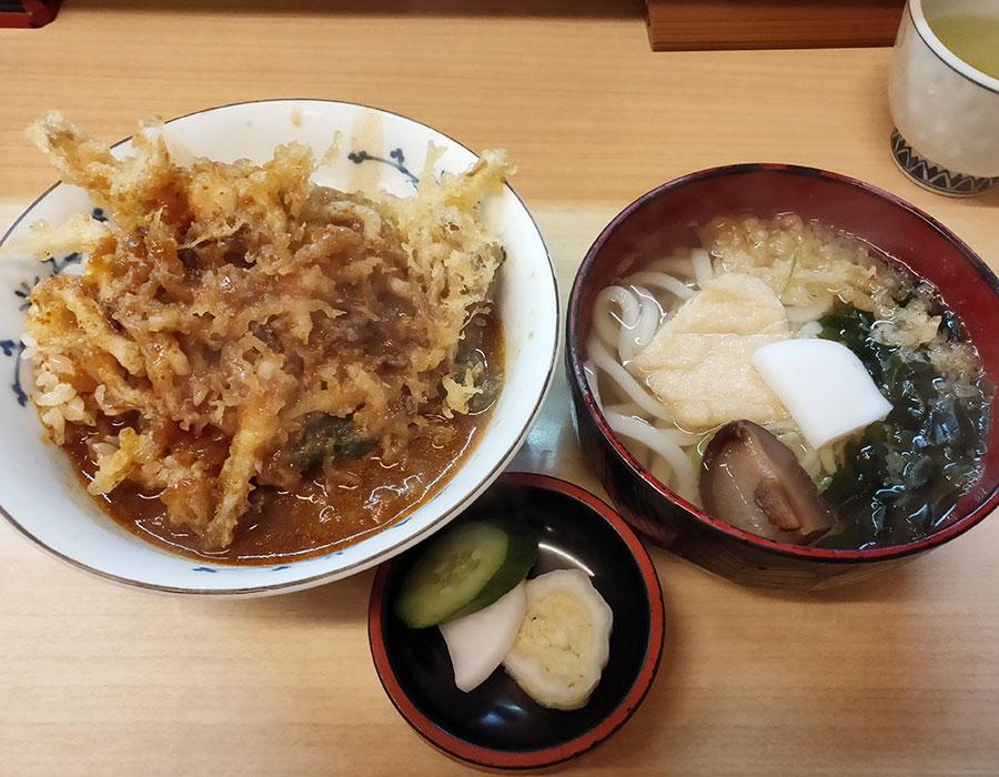カレーかき揚丼(750円) & ミニうどん(250円)