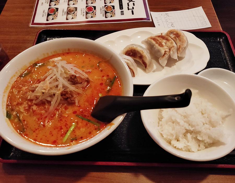「銀莱 麹町店(ぎんらい)」で「担々麺+ライス+餃子(968円)」のランチ