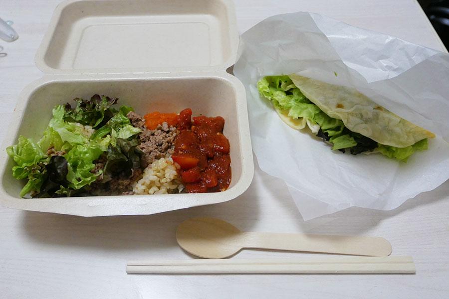 「タコデリオ!(Taco Derio)」で「タコライス&ミートタコス(950円)」のお弁当